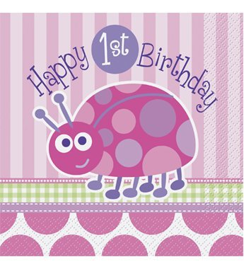 First Birthday Ladybug Lunch Napkins - 16 Count - 1