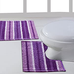 Ritz Aubergine Purple 2 Piece Stripey Soft Cotton Pedestal Bath Mat Bathroom Set