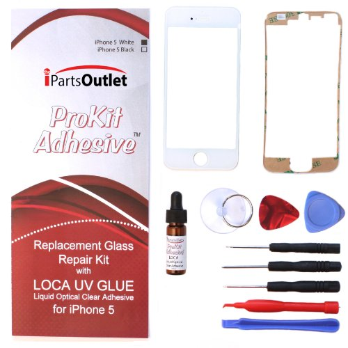 Prokit Adhesive Tm Iphone 6 Glass Lens Lcd Repair Kit With Loca Uv Glue Replacement For Apple Iphone 6 (White)