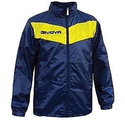 Givova Scudo Watertight Front Zip Hooded Mens, Womens, Boys and Girls Rain Jacket, Blue/Yellow, Medium