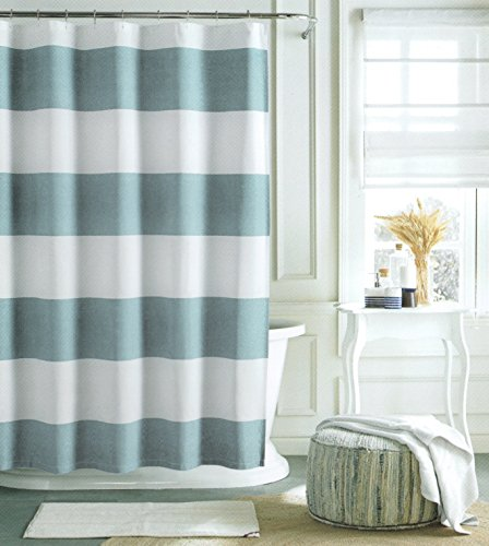 Tommy hilfiger cotton shower curtain wide stripes fabric for Blue and white striped bathroom accessories