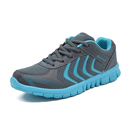 JARLIF Women's Athletic Running Mesh Shoes Breathable Lightweight Lace up Sneakerss Dark Blue US6