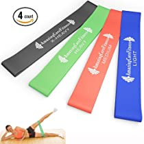 "Amazing Core Fitness - Extreme Resistance Loop Bands - Premium Set of 4 Resistance Exercise Bands - Perfect for P90x, Insanity, Asylum, Crossfit Training, Yoga, Pilates, Beachbody, Physical Therapy, Strengthening, Upper Body, Brazil Butt Lift or Any Other Workout Out There - Effective Exercise Bands for Ankles, Legs, Shoulders, Arms and Core Exercises - Great Workout for Men or Women - Light, Medium, Heavy and Extra Heavy Resistance Levels Perfect for Any Home Gym - 100% Natural Latex Loops - 100% Lifetime Guarantee. SAVE 66% OFF While Supplies Last! (10"" x 2"")"