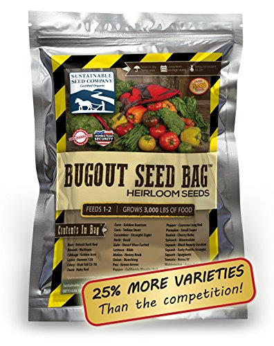 Survival Heirloom Seed Bag - 25 Varieties - Non-GMO Heirloom Seeds for Long-Term Storage or Instant Garden - in a Convenient Mylar Pouch (Bag Of Corn Seed compare prices)