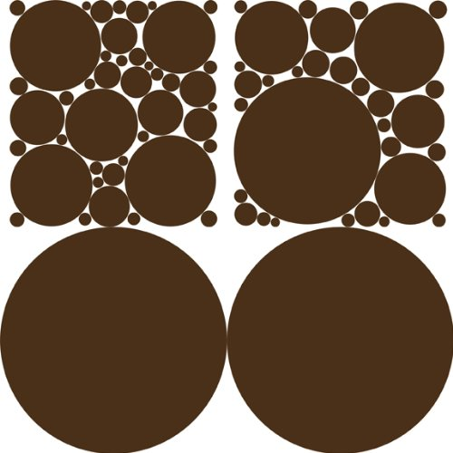 Colorful Polka Dots Wall Stickers / Decals / Appliques, Chocolate Brown