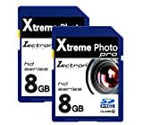 2 x 8GB Memory Cards SD SDHC Class10 16GB Total for Canon PowerShot E1 digital camera camcorder