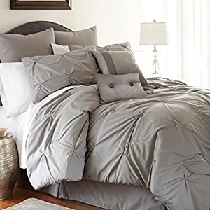 PCT Collection Ella 8 Piece Embellished Queen Size Comforter Set in Platinum