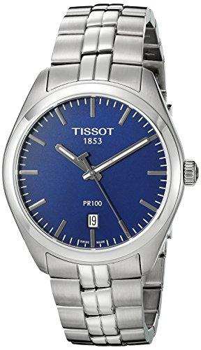 Tissot Men's T1014101104100 Analog Display Quartz Silver-Tone Watch (Tissot Blue Dial Mens Watch compare prices)