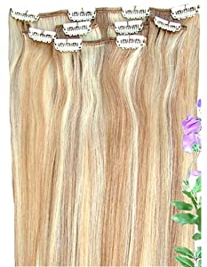 """Forever Young Blonde Highlights #27/613 Clip In Human Hair Extension Half Head 20"""" Long - 16"""" Long"""
