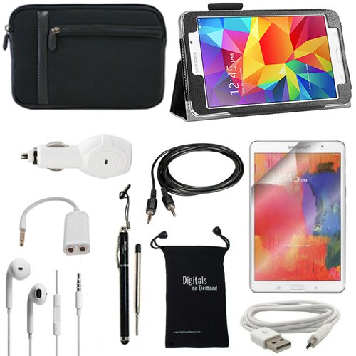 DigitalsOnDemand ® 10-Item Accessory Bundle Kit for Samsung Galaxy Tab 4 7.0 (7-Inch) - Standing Slim Black Leather Case, Padded Sleeve Cover Case, Ultra Clear Screen Protector, 2-in-1 Touch Stylus In