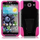 Generic Hybrid Double Layer Fusion Cover Case with Kickstand for LG Optimus G Pro E980 - Retail Packaging - Black/Hot Pink
