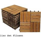 SAM® Set Holzfliesen 02 Balkonfliese (11 Stück) Akazie geölt 30 x 30 cm Drainage Klicksystem steckbar Terrassenfliese Balkon 1 m² Lager Versand durch Paketdienst