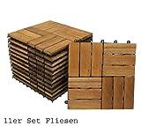 SAM® Set Holzfliesen 02 Balkonfliese  Akazie geölt 30 x 30 cm Drainage Klicksystem steckbar Terrassenfliese Balkon 1 m² Lager Versand durch Paketdienst