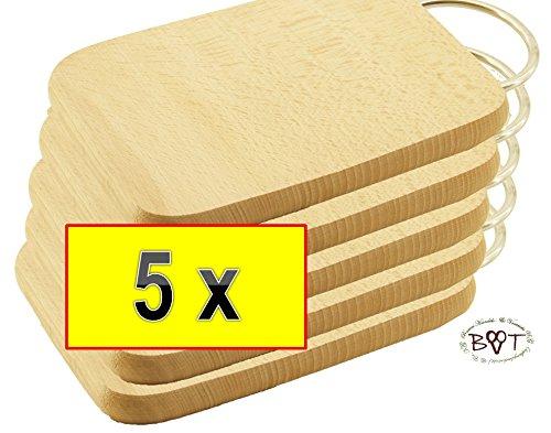 BTV Haus und Garten - Juego de tablas de servir, (grosor: 16 mm, cantos redondeados, superficie: 22 x 12cm, , madera natural de haya, asa de metal cromado, 5 unidades)