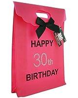 30th Big Birthday Happy Birthday Hot Pink Gift Bag with Diamantes