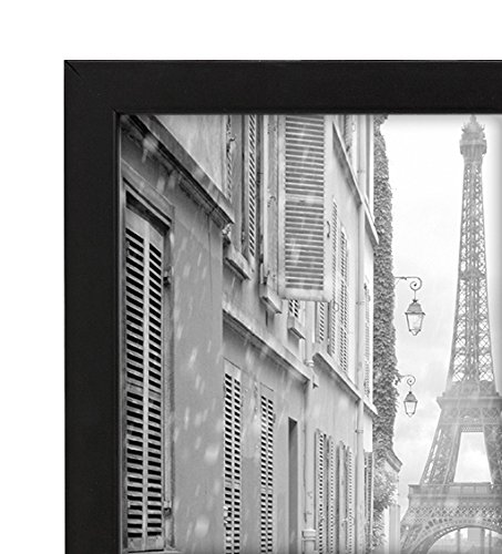 A4 (21x30 cm) Black Wood Picture Frame with Glass Front; Made to Display Pictures 21x30 cm; Hanging Hardware Included