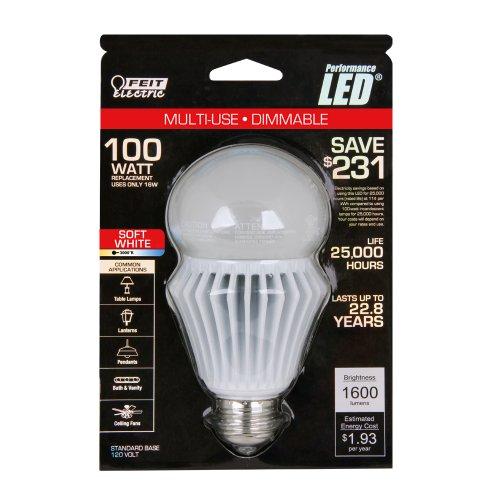 Feit Bpag1600Dm/Led Utility A19/Globe Led Dimmable 1600 Lumen, 3000K