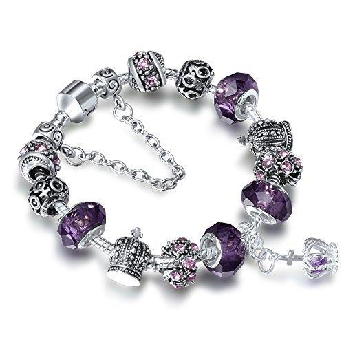 A TE® Bracciale Charms da Donna placcato in oro bianco Beads cristalli viola Regalo Festa SKU:JW-B70