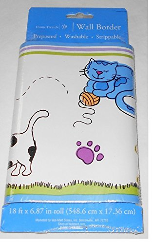 Smiling Cats and Dogs - Paw Prints Wall Border - Prepasted 18 Foot - 1