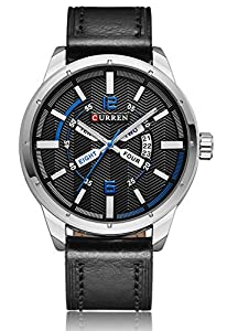 CURREN Men's Sport Military Quartz Display Date Calendar Leather Band Dress Wrist Watch Black