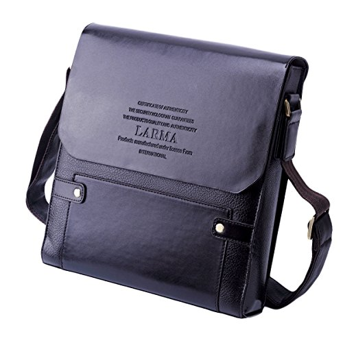 LARMA Newest Fashion Men's Genuine Leather RFID Blocking Secure Briefcase Shoulder Messenger Bag , (Leather Man Bag)