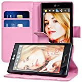 Kwmobile® Elegant leather case for the LG Optimus L9 P760 with magnetic fastener and stand function in Hot Pink