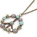Susenstone®Women Retro Pearl Peace Symbol Necklace Sweater Chain