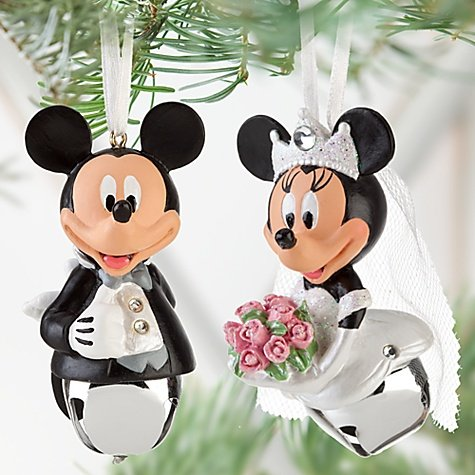Bride & Groom Disney Mickey & Minnie Mouse Wedding Christmas Ornament 2 pc Set