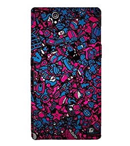 BLUE AND PINK ABSRACT GLOWING PATTERN 3D Hard Polycarbonate Designer Back Case Cover for Sony Xperia Z :: Sony Xperia Z L36h