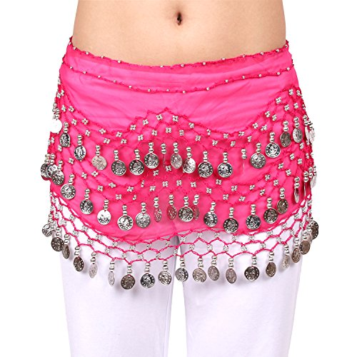 BellyRose Chiffon Dangling Silver Coins Hot Pink Belly Dance Hip Scarf, Vogue Style