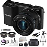 Samsung NX2000 Smart Wi-Fi Digital Camera Body & 20-50mm Lens (Black) Kit. Includes 0.45X Wide Angle Lens, 2X Telephoto Lens, 3 Piece Filter Kit, High Capacity Replacement Battery, Tripod, Case & More