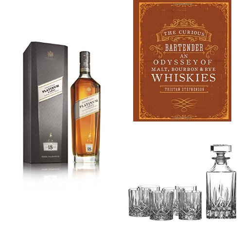 discount duty free Johnnie Walker Platinum Label Whisky, The Curious Bartender Book and Royal Doulton Crystal Decanter Set