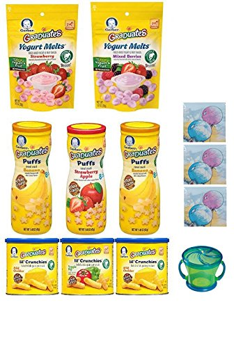 12 Pack Bundle! Gerber Graduates Variety Snack Pack Sampler of Puffs, Yogurt Melts, and Lil Crunchies + 1 Snack Catcher (Color Will Vary); 3 Disposable Crumb Catcher Bibs; Sanitizing Hand Wipes. Care Package, Baby Gift (Lil Crunchies Veggie Dip compare prices)