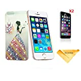 Se7enline Handmade [3 in 1 Bundle] 3D PC iphone 6 4.7 Case+ 2 piece HD Clear Screen Protectors+Soft Clean Cloth, 3D bling Rhinestone Crystal PC Case Cover for iPhone 6 with Rainbow Gradient colorful butterfly princess dress pattern