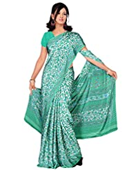 Khushali Multicolor Flower Print Silk Crape Saree With Unstitched Blouse Piece(Multi Color)