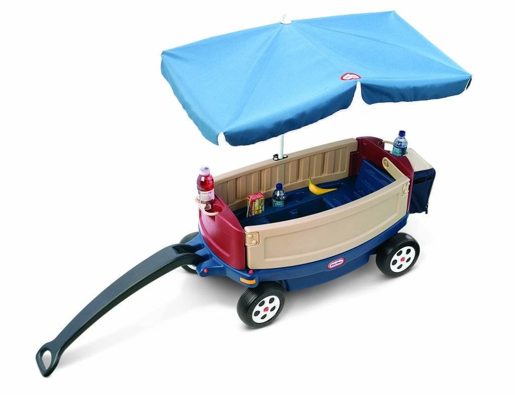 An Image of Little Tikes Deluxe Ride and Relax Wagon with Umbrella