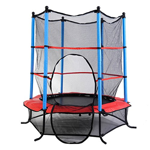 55-Round-Kids-Mini-Trampoline-w-Enclosure-Net-Pad-Rebounder-Outdoor-Exercise