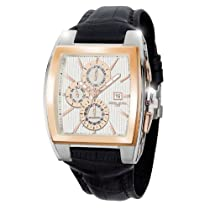 Jorg Gray JG6300-38 Rectangular Watch with Brown Italian Crocodile Leather Pattern with Deployment Butterfly Buckle
