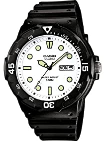 Casio #MRW200H-7EV Men's Black Rubber Band 100M Sports Analog Watch