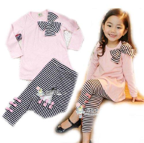 Tkc Cute Baby Girls 2 Pcs Set Long-Sleeve Bow Strip Dress & Legging Blue (5T)