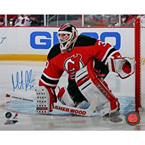 NHL New Jersey Devils Martin Brodeur Stick Save Red Jersey Signed Photograph,... by Steiner Sports