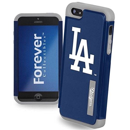 Forever Collectibles Mlb Dual Hybrid Tpu Iphone 5/5S Rugged Case - Retail Packaging - Los Angeles Dodgers
