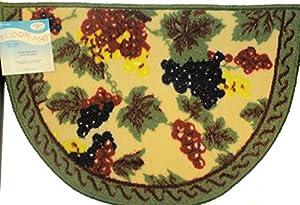 Grapes design wine theme kitchen rug mat half round 16 x 24 kitchen dining - Grape design kitchen rugs ...