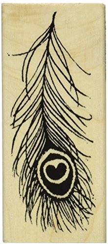 "Stampendous Mounted Rubber Stamp 1-3/4""X4""-Peacock Feather - 1"