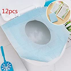 BeautyMood 12PCS Pocket Size healthful Safe portable Travel Disposable Paper Toilet Seat Covers - Avoid Touching Safe Antibacterial Waterproof Toilet Seat Covers-Cleaner & Healthier (12)