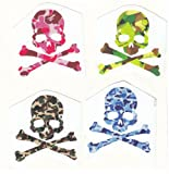Set of 4 Mastermind Camouflage Skull and Crossbones Sticker for Skateboards, Snowboards, Scooters, BMX, Mountain Bikes, Laptops, iPhone, iPod, Guitars etc