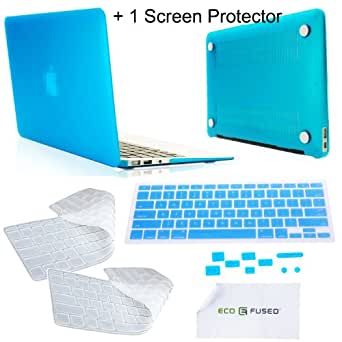 """MacBook Air 13.3"""" Blue Crystal Hard Case / Three Keyboard Covers (1 Blue and 2 Clear) / Set of Anti-dust Covers / Screen Protector - ECO-FUSED® Microfiber Cleaning Cloth 5.5""""x3.0 included (FOR 2011, 2012 VERSION ONLY)"""