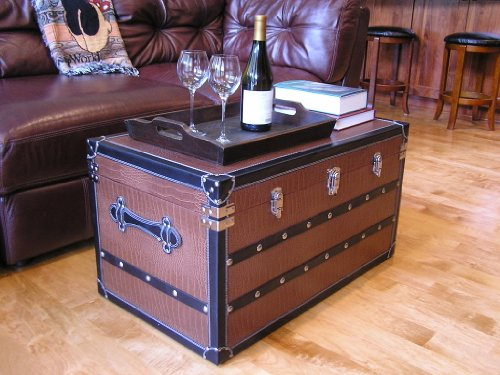 Decorative Fairfax Large Wood Steamer Trunk Wooden Treasure Hope Chest