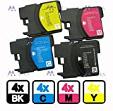 16x Brother LC1100/980 Multipack LC980 LC 1100 Ink Cartridges Compatible with LC1100BK LC1100C LC1100M LC1100Y / LC 980 LC980 LC-980 LC980BK LC980C LC980M LC980Y Compatible for DCP-145C DCP-163C DCP-165C DCP-165C DCP-185C DCP-195C DCP-365CN DCP-373 CW DC