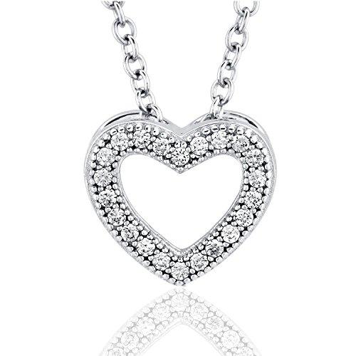 [ジュエリーキャッスル] Jewelry Castle ネックレス オープンハート マイクロセッティング ペンダントネックレス CZダイヤモンド
